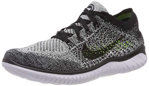 Nike Men's Free RN Flyknit 2018 Running Shoes (12, Black/White/Black)