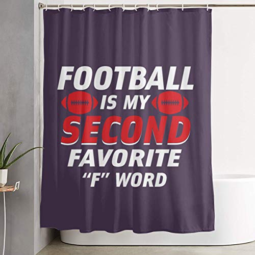 Arsmt Football is My Second Favorite F Word Shower Curtain with Hooks Polyester Fabric Bathroom Decor