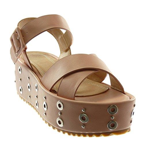 Lanière Cm Sandale Femme Chaussure Talon Cheville Mode Perforée Plateforme Angkorly Rose 6 Clouté Compensé Mule IwUO1ax1q