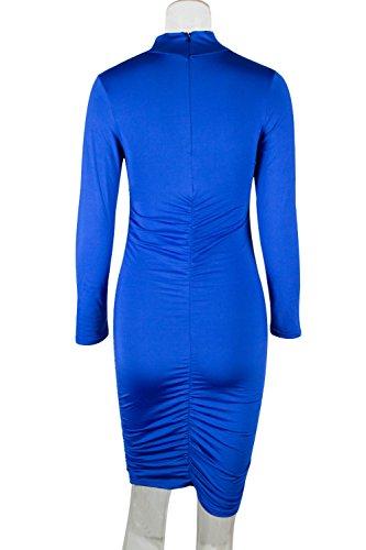 La Solido Pullover Mujer Casual Bodycon Vestido Embudo Azul Cuello Plisado Slim Mini xxCYZHr
