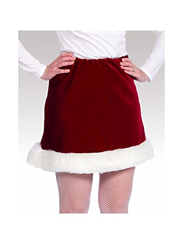 Red Velveteen Ms. Santa Skirt, White,