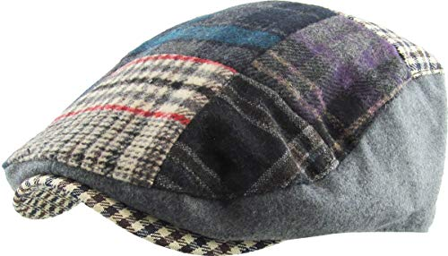 KBW-311 Gry S/M Plaid Patch Ascot Ivy Newsboy Hat Wool ()