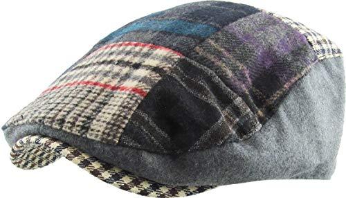(KBW-311 Gry L/XL Plaid Patch Ascot Ivy Newsboy Hat Wool Blend)