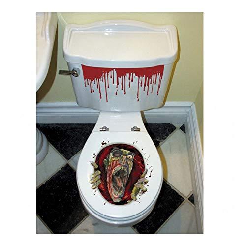 Halloween Zombie Scream Dripping Blood Toilet Topper Scene