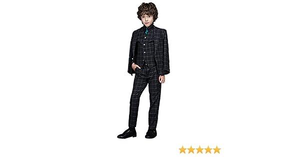 Liveinu Boys Plaid Formal Dress Slim Suit Set LVNU-xz073-074-075