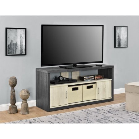 50'' TV Stand with 2 Bins, Carmen Oak/Natural Oak Curved Top Gives this Stand a Touch of Elegance for Your Living Room by eCom Fortune