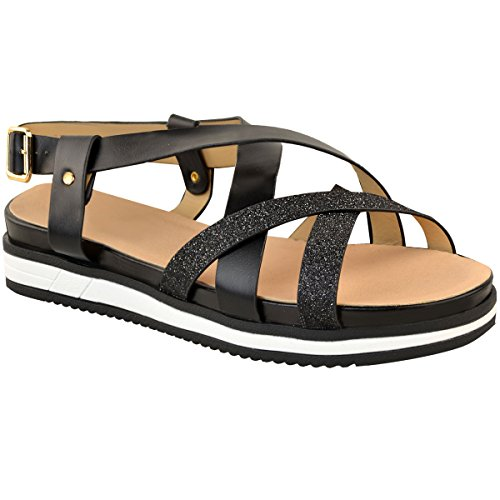 Fashion Thirsty Womens Low Platform Heel Espadrilles Sparkly Summer Sandals Shoes Size Black Faux Leather MdGBEFjOb3
