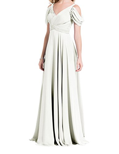 fc1a35d81f0 Long Mother of Bride Dress V Neck Evening Formal Party Gown Cold Shoulder  Ivory US2