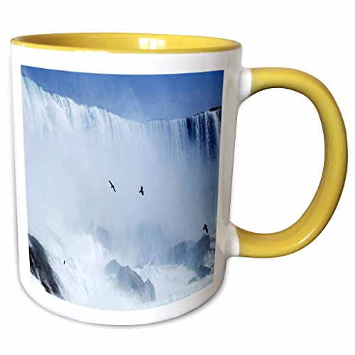3dRose Florene America The Beautiful - Famous Niagra Falls Straddling NY n Canada - 11oz Two-Tone Yellow Mug - Falls Niagra Outlets