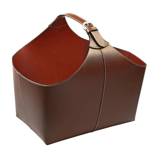 KINDWER Leather Magazine Basket with Strap, Brown SeaSky A052
