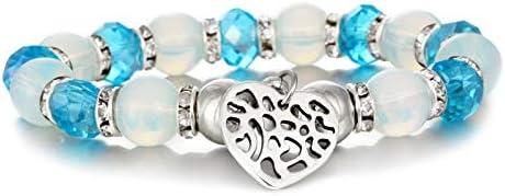 XIANNU Pulseras para Mujer,Moda Pulseras de Perlas de Vidrio Azul elástico Femme Heart Charm Bracelet para Mujeres niñas Hombre Hombres Amistad Joyas