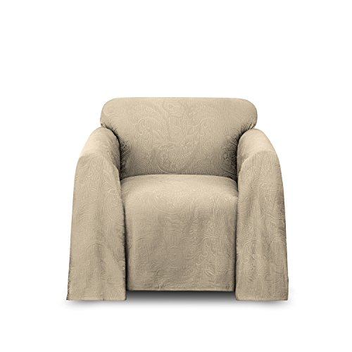 Stylemaster Alexandria Matelasse Chair Furniture Throw, Beige (Large Chair Slipcovers)