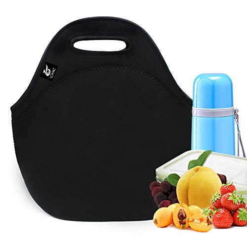 LOVAC Reusable Lunch Bag for Men,Lunch Tote,Durable and Waterproof Neoprene Lunch Bags,Insulated Soft and Lightweight (Pure Black)