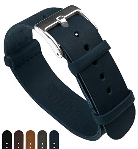BARTON Leather NATO Style Watch Straps - Choose Color, Length & Width - Navy Blue 24mm 'Long' Band