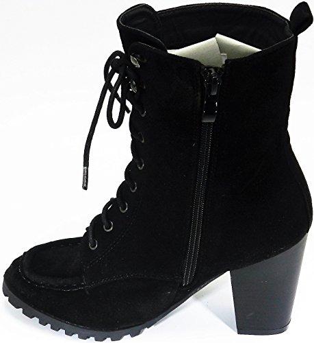 Femmes Bella Marie Stiched Moccasion Lacer Jusquà Talon Empilé Bottine Chaussures Noir