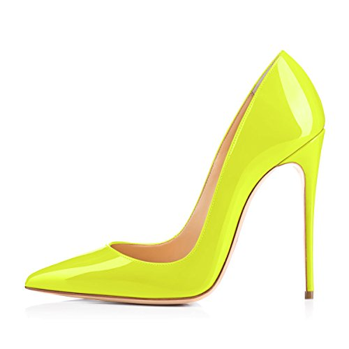 onlymaker Women's Sexy Pointed Toe High Heel Slip On Stiletto Pumps Large Size Basic Shoes Fluorescent Green 8 M US (Thick Stiletto Heels)
