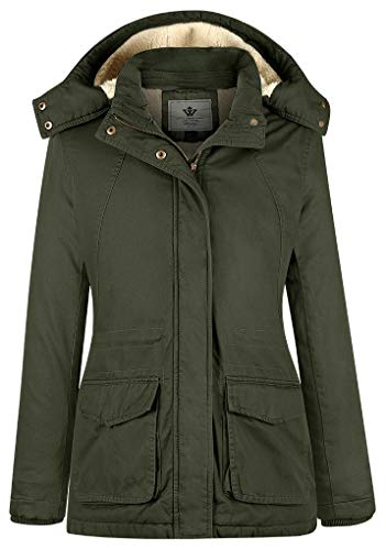 - WenVen Women's Thermal Slim Cotton Hooded Active Jacket (Army Green,Large)