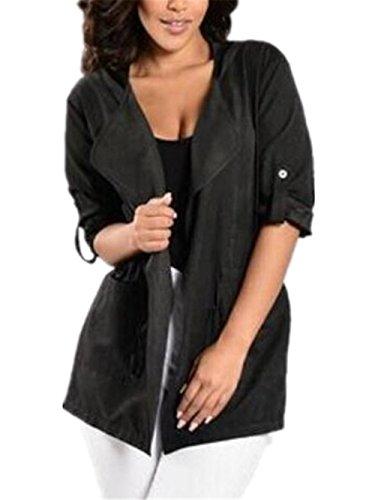 Coat Jacket Elegante Mujer Larga Chaquetas Abrigos Outwear Color Hipster SÓLido Manga Vintage Top negro AILIENT Sencillos SPqnw