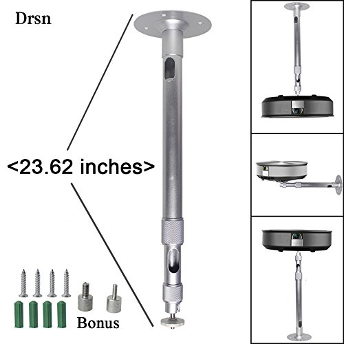 Drsn Universal Extendable Projector Mount Height Adjustable Projector Mount 13.97-23.62in Wall and Drop Ceiling Projector Mount Silver 360° Rotatable for Projectors CCTV DVR Cameras