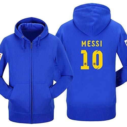 Shocly Sweatshirt Barcelona Lionel Messi 10 Fan Hoody Geschenk für Fußballfans Liga Phänomen Kapitän Herren,10,XXL