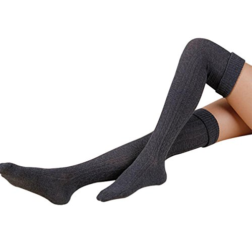 (Hippih Womens Winter Over Knee Leg Warmer Crochet Thigh High Boot Socks Girls Leggings(Dark)