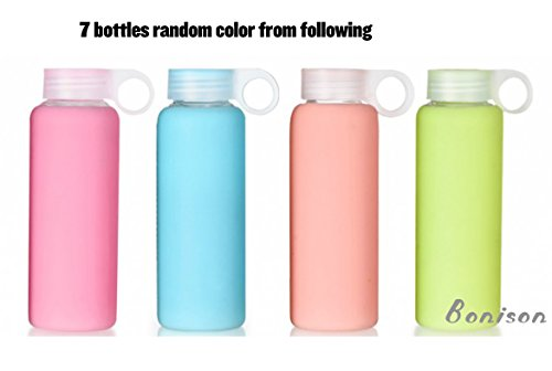 Borosilicate Glass Water Bottles Sport - Get Healthy and Drink More - Storage Container - Clean Tasting,- No Return - Warehouse Deal (9oz- 7 Pack)