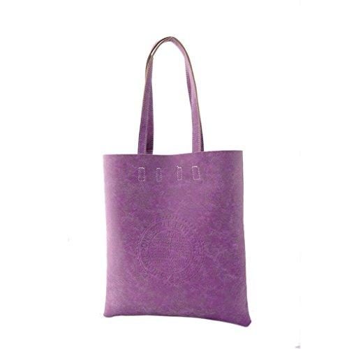 Women Ladies Girls Retro Vintage Faux Suede Leather Big Capicity Shopper Large Tote Bag Fashion Unicolor Logo Embossed Satchel Top-Handle Shoulder Handbag Shopping Bag Everyday Purse