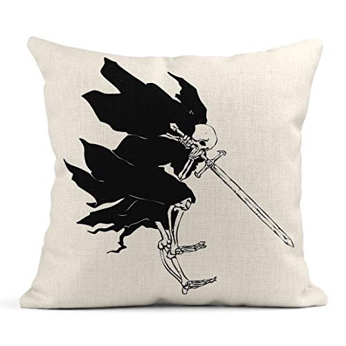 Emvency Decor Flax Throw Pillow Covers Case Grim Reaper Attack Medieval Ghost Gothic Skull Night Demon Black and White 20