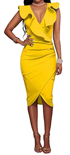 Fulok Womens Sleeveless V-neck Ruffle Solid Wrap Bodycon Dress Yellow Small