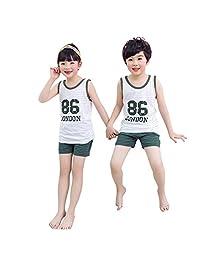 XuBa Children Household Clothes Cartoon Sleeveless Tops + Pants for Daily Wearing dark green 100cm