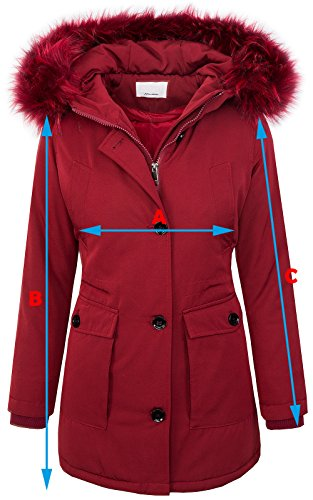 Donna Manica Parka Giacca Rosso Creek Rock Lunga Scuro tqXTTR