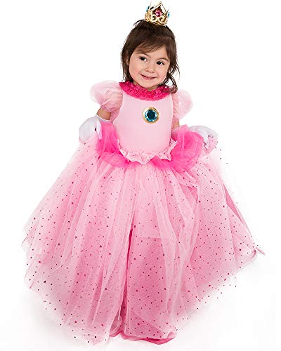 Coskidz Children's Princess Peach Cosplay Costume with Crown (Pink) -