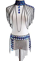 Body Suit With Blue Rhinestones and Chain