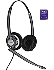 Plantronics HW720 Wired Office Headset Bundled with Headset Advisor Wipe (Renewed)