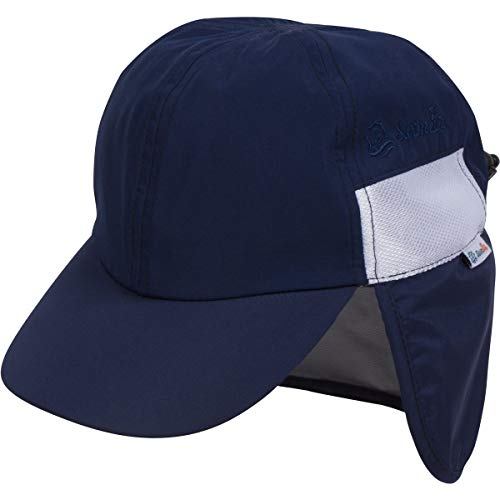 SwimZip UPF 50+ Kids Baseball Hat with Neck Flap and Adjustable Tightener - 2-8 Years/Navy