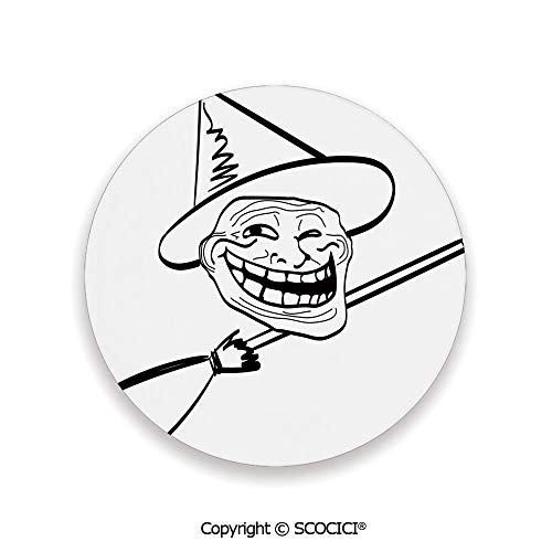 (Ceramic Coasters with Cork Base, Prevent Furniture from Dirty and Scratched, Suitable for Kinds of Mugs and Cups,Humor Decor,Halloween Spirit Themed Witch Guy Meme Lol)