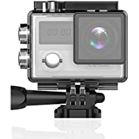 4K Action Camera, Greatever UHD 4K WIFI Sports DVR Cam Waterproof DV Camcorder 20MP 170° Wide Angle Dual Screen/2G ROM/2.4G FR Remote Control/Rechargable Battery/MIC for Outdoor Extreme Sports Silver