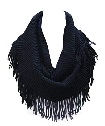 Lucky Leaf Women Fashion Thick Knitting Woolen Infinity Scarf Circle Loop Scarves with Long Fringe (Black 1)