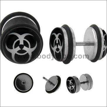 Earrings Rings Fake Bio Hazard Cheater Plug 16 gauge biohazard- Sold as a pair BV172