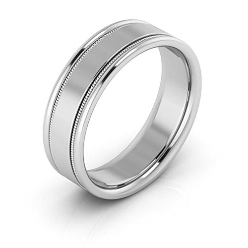 - 18K White gold 6mm raised edge with milgrain comfort fit men's & women's wedding bands, 11.5