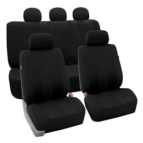 FH Group FH-FB036115 Striking Striped Seat Covers Airbag & Split Ready, Black Color - Fit Most Car, Truck, SUV, or Van