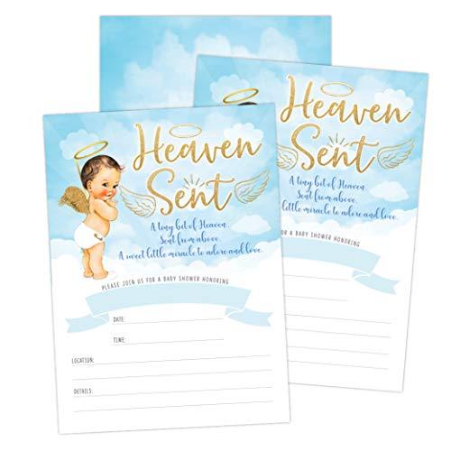 Heaven Sent Boy Baby Shower Invitation, Cute Clouds and Celestial Angel Baby Shower Invite, Twinkle Twinkle Little SAR, 20 Fill in Invitations and Envelopes Angel Baby Shower Invitations