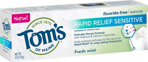 Tom's of Maine Rapid Relief Sensitive Natural Toothpaste Fresh Mint -- 4 oz - 2pc