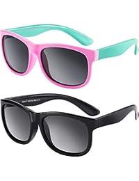 2 Pieces Toddler Sunglasses Rubber Flexible Kids...