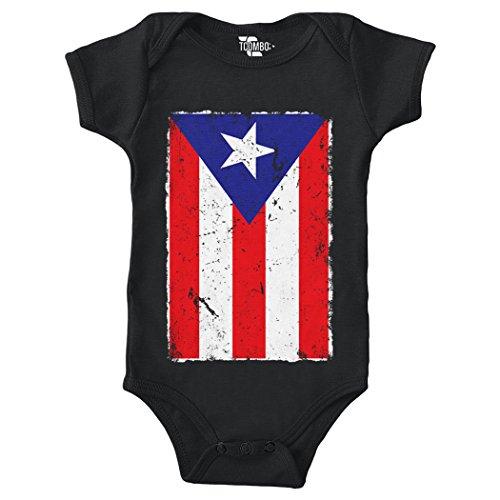 Puerto Rico Distressed Flag Bodysuit (Black, 6 Months)