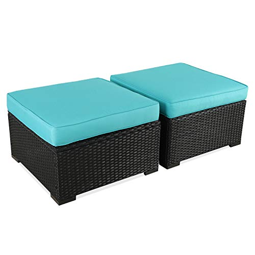 (Patio Rattan Wicker Ottoman Seat - Outdoor Footrest with Water Resistant Turquoise Cushions,Set of 2)