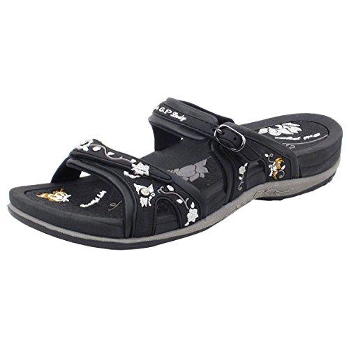 Gold Pigeon Shoes GP Slide Sandals for Women: 6875 Black, EU39 (US Size 8-8.5)