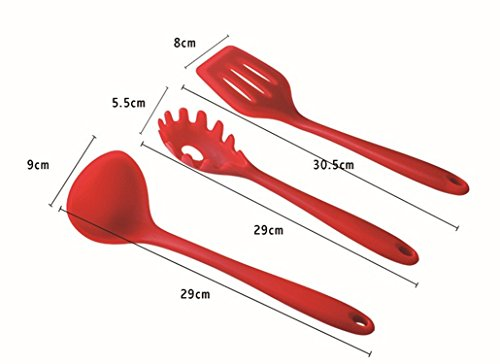 Mokpi 10 Piece Silicone Kitchen Utensils Set Heat Resistant Non-Stick Cooking Tools Professional Kitchenware (Red) by Mokpi (Image #3)'