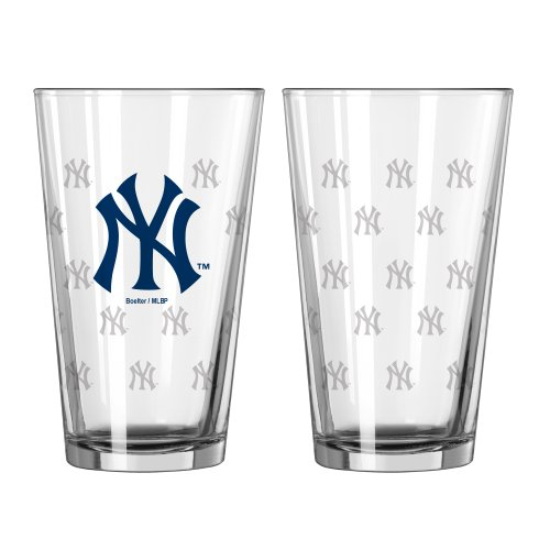 - MLB New York Yankees Satin Etch Pint Glass Set (Pack of 2), 16-Ounce