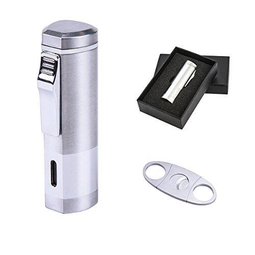Lighter Set, Cigar Punch Lighter Triple Jet Flame Butane Cigarette Torch Lighter (Silver) ()